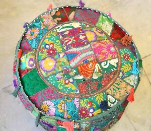 Indien Handmade Round Pouf Cover Vintage Pure Cotton Ottoman Patchwork Footstool