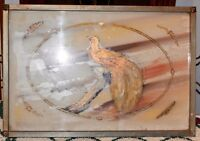 Vintage 2 Handled Glass Serving Tray With Hand Painted Gold Colored Peacock