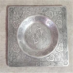 Emson Pewterlium Oriental Decorative Plate/Bowl/Tray/Dish Coffee Table Accessory