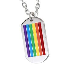 """Mens Stainless Steel Rainbow Dog Tag Pendant Necklace with 22"""" Chain"""