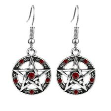 Pentagram Earrings with Red Stones Wiccan Gothic