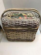 New listing Wicker Rope Picnic Basket Lined Interior, Enamel Fruit Design 14 x 9 x 12