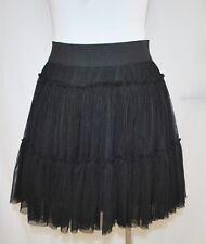CHIC Black Tiered Ruffle TuTu Twirl School Girl Rock Grunge Mini Skirt M