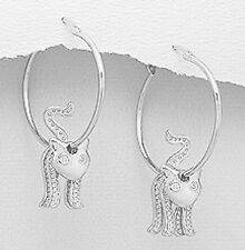 "1.80"" SPARKLING Solid Sterling Silver Gorgeous Cat Hoop Dangle Earrings 8.4g"