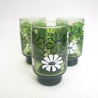 Vintage Libbey Glasses Tumblers Juice Green White Flowers 60's Mod Glassware