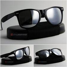 Classic Square Sunglasses in shinny black & Mirrored Lens Unisex Fast Delivery