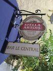 "Vintage Stella Artois Bar Sign  ""Bar Le Central"" with Frame from Leige, Belguim"