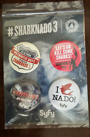 2015 SDCC COMIC CON EXCLUSIVE SYFY SHARKNADO 3 BUTTON BADGE PIN SET OF 4 ON CARD
