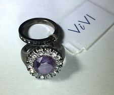 Vivi Cookie Lee Fashion Rings Gunmetal Purple and Clear Stones Size 7