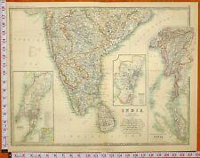 1899 Large Antique Map Southern India Ceylan Bombay Supérieur Burma Madras