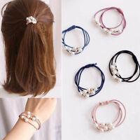 Korean Style 5X Women Elastic Ponytail Holder Pearl Hair Tie Ring Rope Hair Band