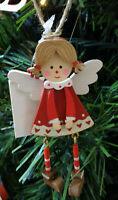 Addobbo natalizio per albero natale in legno angioletto rosso decorazione