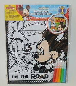 MICKEY MOUSE VELVET ART POSTER SET MARKERS KIDS ACTIVITY KIT BOYS GIRLS COLORING