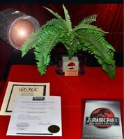 JURASSIC PARK Screen-Used Prop FERNS in VASE, Plaque, Logo, COA, DVD Blu Trilogy