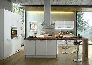Nolte Küche Manhatten Uni Weiß-Arbeitsplatte Rustica dunkel