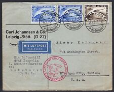 Germany Graf Zeppelin Cover Sieger 57F Franked w/ Germany #C38 x2 &  #C39
