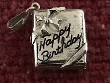 silver charm Hinged Opening Happy Birthday box sterling