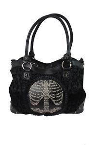 Lost Queen Black Flocked Ribcage Skeleton Cameo Handbag Shoulder Bag