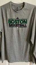 Adidas Boston Celtics Shirt Men XL Gray green Climalite Long Sleeve NBA