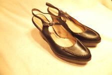 "COLE HAAN Black Leather SlingBack 4"" Wedge Pointed Toe  Heels Sz 8B Super Nice"