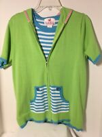 Quacker Factory  Resort Zip Hood Cardigan & Striped Tank Nautical 2Pc Set Sz Sm