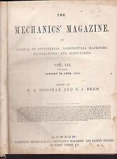 THE MECHANICS' MAGAZINE : JOURNAL OF ENGINEERING complete 1860 series RARE