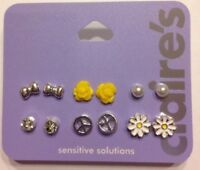 Six Pairs New Claire's Sensitive Solutions Earrings Yellow And Silver