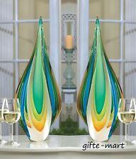 2 Turquoise blue green gold tall art Glass Sculpture statue object trophy award