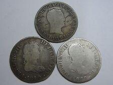 1812-1810-1823 CATALONIA MADRID SEVILLA 2 REAL FERDINAND VII LOT 3 COIN COLONIAL