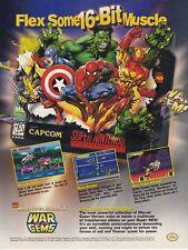 1996 Capcom Marvel WAR OF THE GEMS Super Nintendo SNES video game print ad page