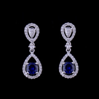 Natural Diamond Round Blue Sapphire Drop Earrings Solid 14K White Gold Jewelry