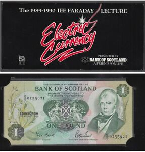 Bank Of Scotland 1988 One Pound Note £1 UNC Presentation Faraday Lecture   / nox