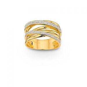 Damenring Mehrsteiner 925 Gelb/Rhodiniert Zirk. PR6642