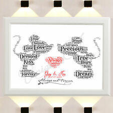 Personalised Mickey Minnie Mouse Word Art Print Disney Gifts Wedding Day Love A4