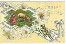 Easter Greetings  light embossing sheep on cross  used postcard
