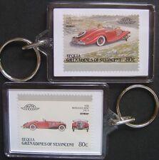 1936 MERCEDES BENZ 540K Car Stamp Keyring (Auto 100 Automobile)
