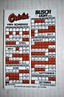 1991 BALTIMORE ORIOLES MLB BASEBALL SCHEDULE MAGNET SKED BUSCH LIGHT BEER