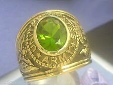 12X10 mm United States Army Military August Green Peridot Stone Men Ring Size 9