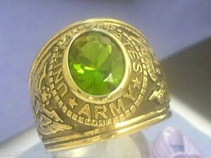 12X10 mm United States Army Military August Green Peridot Stone Men Ring Size 15