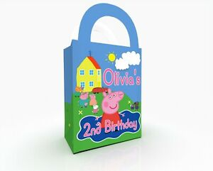 Peppa Pig Personalised Party Gift Bag, Party Box Birthday Gift Treat