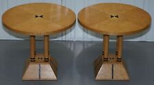 PAIR OF BURR SATINWOOD ROUND SIDE TABLES FOUR PILLAR BASE BIEDERMEIER STYLE