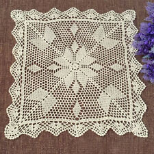 Vintage Hand Crochet Beige Doily Square Lace Table Placemat/Topper 17inch Floral