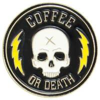 Coffee Death Enamel Pin Badge Brooch Skull Rockabilly Retro Cafe Aussie Seller