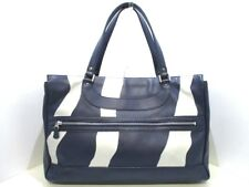 Auth JACQUES LE CORRE Navy Silver Leather Tote Bag