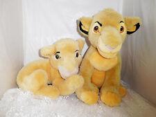 "Disney Lion King Simba (13"" Tall +Tail) & Nala (14"" Long + 10"" Tail) Plush Toys"