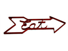 'Eat' Distressed Metal Antique Red Arrow Wall Hanging Decor Sign *NEW*
