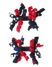 GYMBOREE SMART LITTLE LADY RED & NAVY DOT CURLIES HAIR CLIPS BARRETTES 2-CT NWT