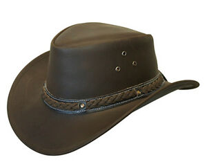 Australian Western Outback Style Cowboy Real Leather Bush Hat Brown