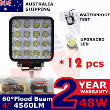 12x 48Watt LED Work Lights Tractor Boat flood Beam lamp offroad daytime running