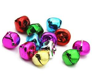 LARGE JINGLE BELLS CHARMS 13mm 15mm 20mm 25mm 30mm 35mm XMAS ASSORTED COLOURS